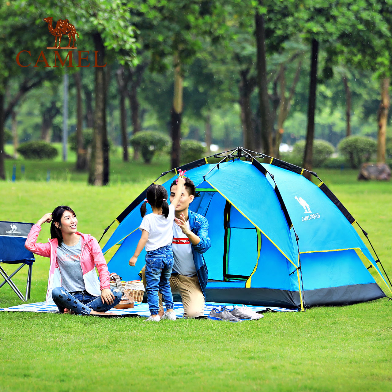 骆驼帐篷户外用品野营加厚3-4人全自动速开帐蓬2人野外露营装备