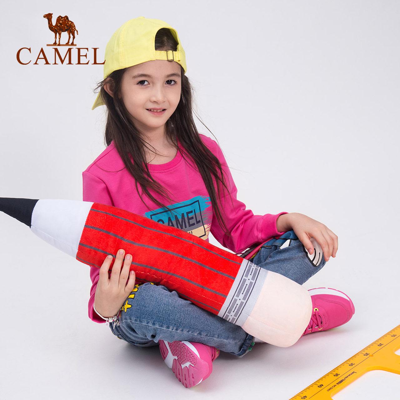 CAMEL/骆驼童装秋季儿童微弹印花卫衣 男女童套头运动吸汗打底T恤