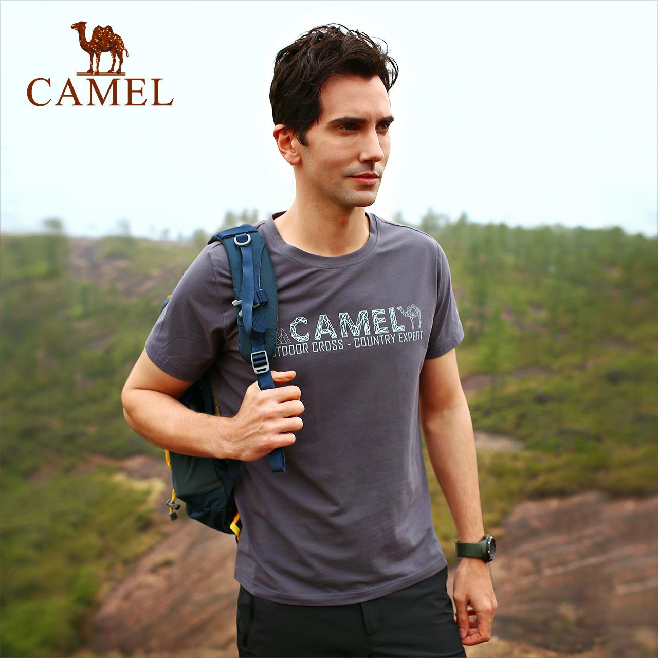 CAMEL骆驼户外T恤 春夏男女情侣圆领透气吸汗柔弹亲肤短袖休闲T恤