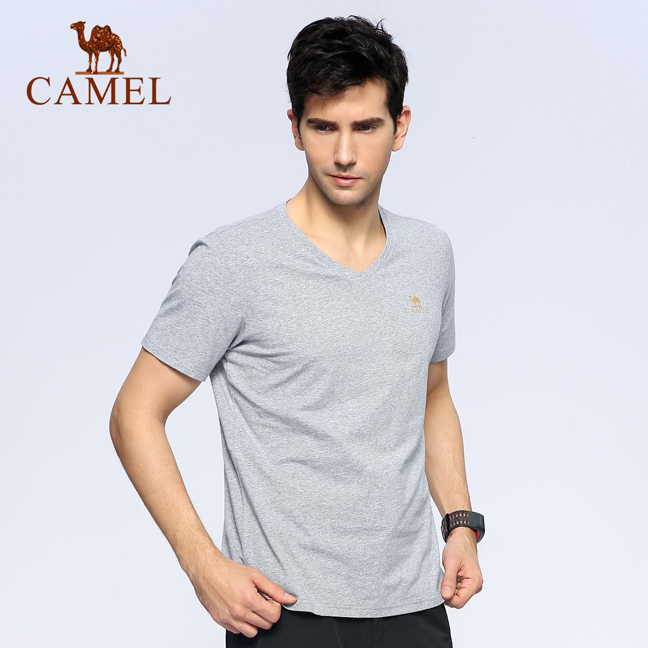 CAMEL骆驼户外男T恤 春夏款日常休闲短袖运动宽松透气V领上衣