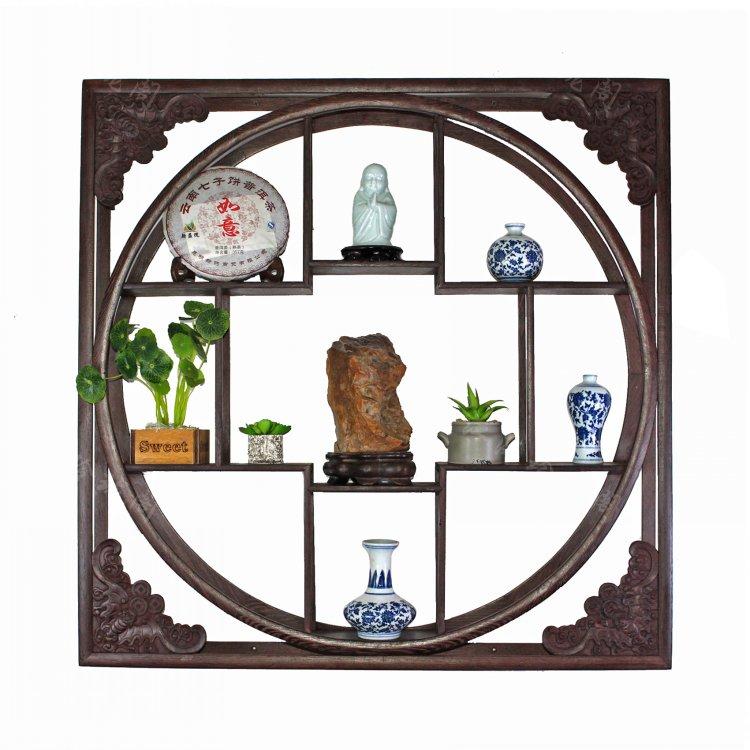 挂壁式博古架挂墙实木中式墙上多宝阁鸡翅木茶壶架子置物架古董架