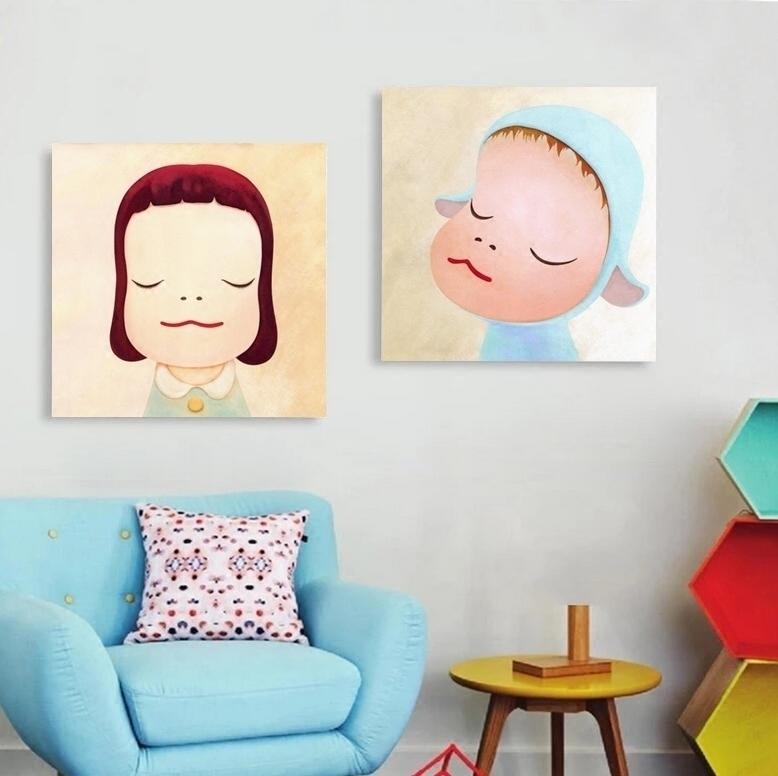 奈良美智 夢遊娃娃清新卡通客廳掛畫臥室床頭壁畫走道無框裝飾畫