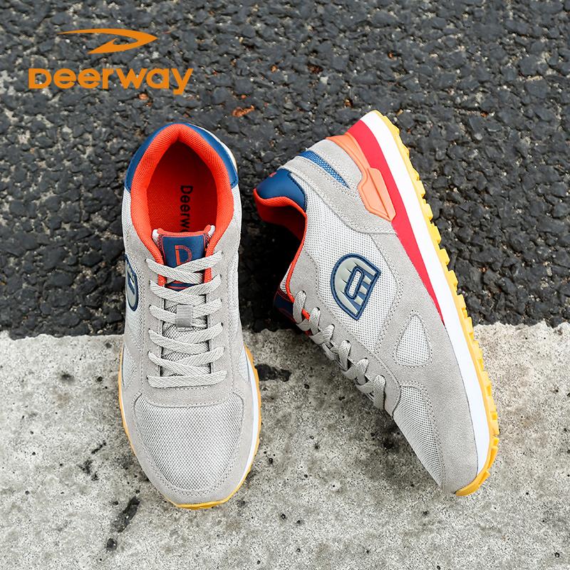 德尔惠运动鞋男秋季休闲男鞋轻便透气跑步鞋男士旅游鞋复古慢跑鞋