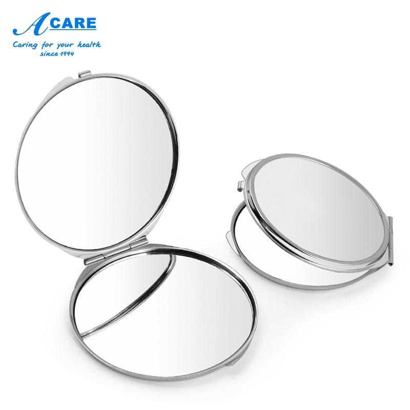 小镜子卸妆化妆镜随身镜子女便携折叠双面简约不锈钢放大方镜圆镜