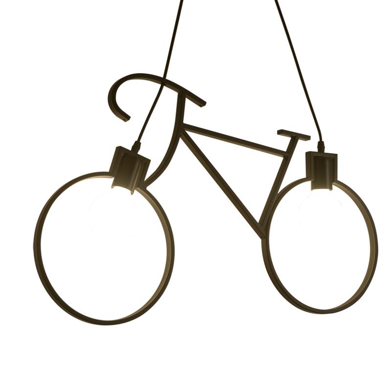 北欧风格吊灯创意个性餐厅吧台自行车吊灯儿童房卧室过道铁艺灯具