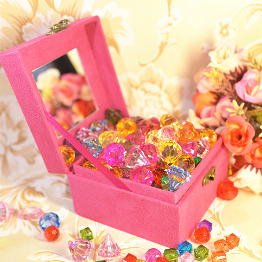 儿童宝石玩具钻石水晶公主塑料diy串珠七彩石幼儿园益智礼物宝箱
