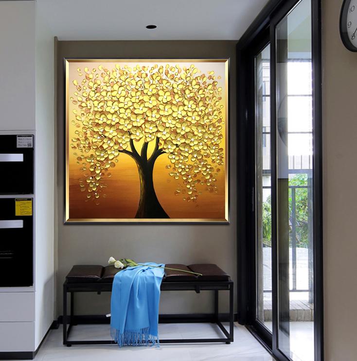 搖錢樹純手繪油畫玄關裝飾畫客廳方形掛畫金色發財樹壁畫入戶輕奢