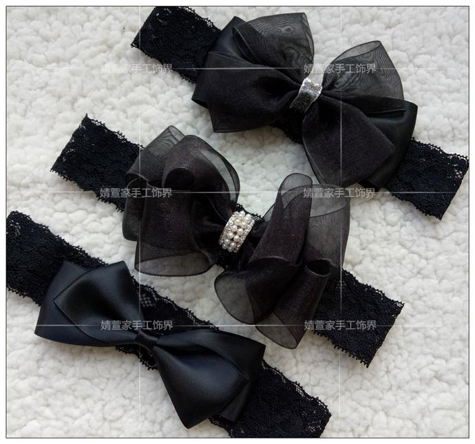 滿49包郵手工韓國歐美女童嬰兒寶寶頭花頭飾髮帶蕾絲蝴蝶結-黑色
