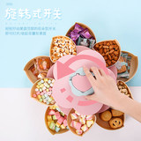 Rotating fruit plate double flower type large-capacity home creative modern living room red candy box married New Year New Year