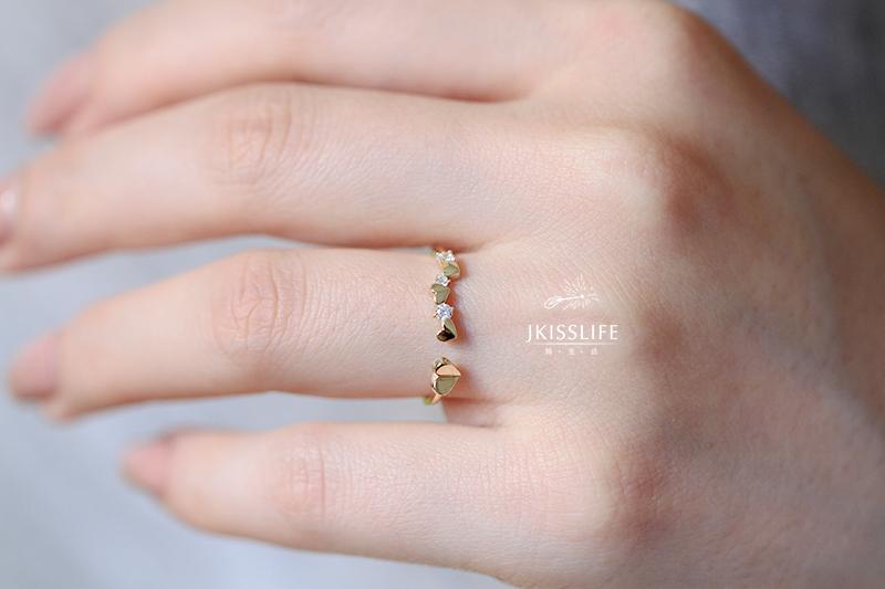 简生活  黄金许多小爱心精致唯美简约开口戒指指环 9k BY JKISSLIFE