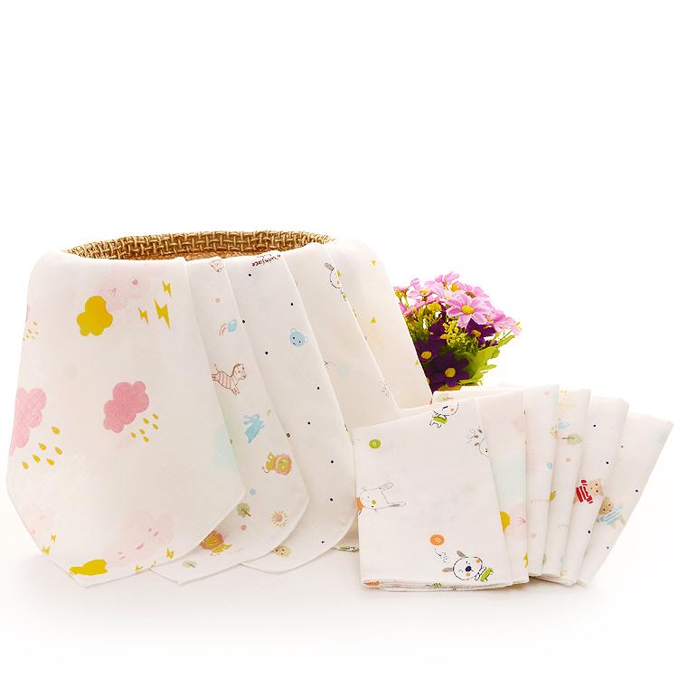 10条新生婴儿双层薄方巾纯棉纱布口水巾宝宝洗脸小毛巾喂奶手帕软