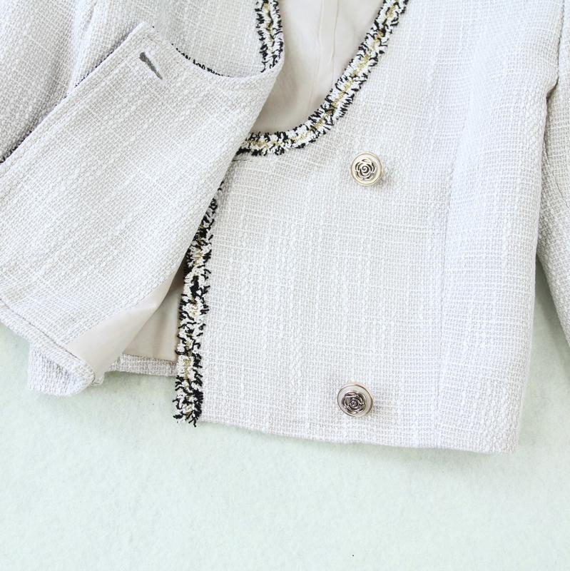 包邮秋冬新款小香风花边粗纺花呢上衣外套+包臀鱼尾中裙套装