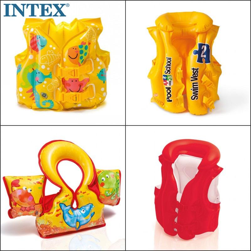 原裝INTEX行動式兒童充氣救生衣游泳衣游泳背心小孩浮力衣游泳圈