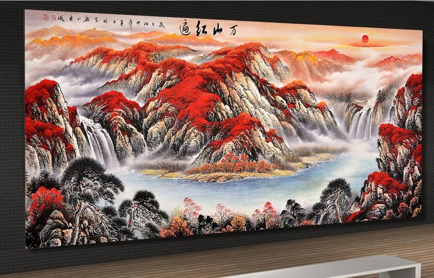 大型壁画背景墙墙纸万山红遍鸿运当头风水画背景墙G0758