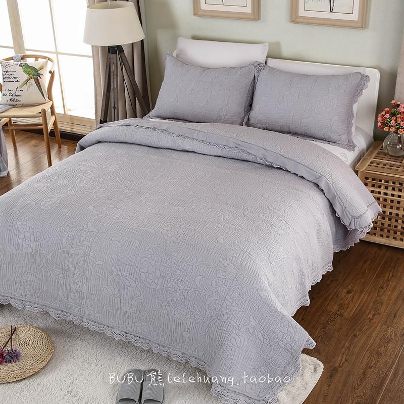 绗缝被床盖三件套欧式新品加厚出口全棉空调被纯棉水洗夏凉被床单