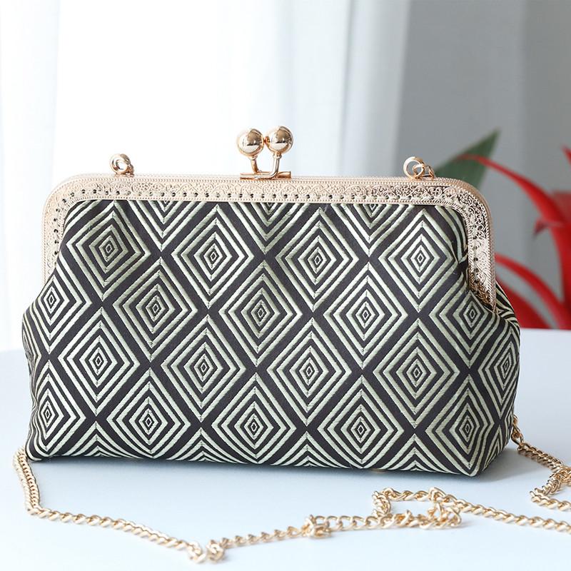 口金包材料diy手工斜挎复古小包包制作创意女手缝拼 布艺打发时间
