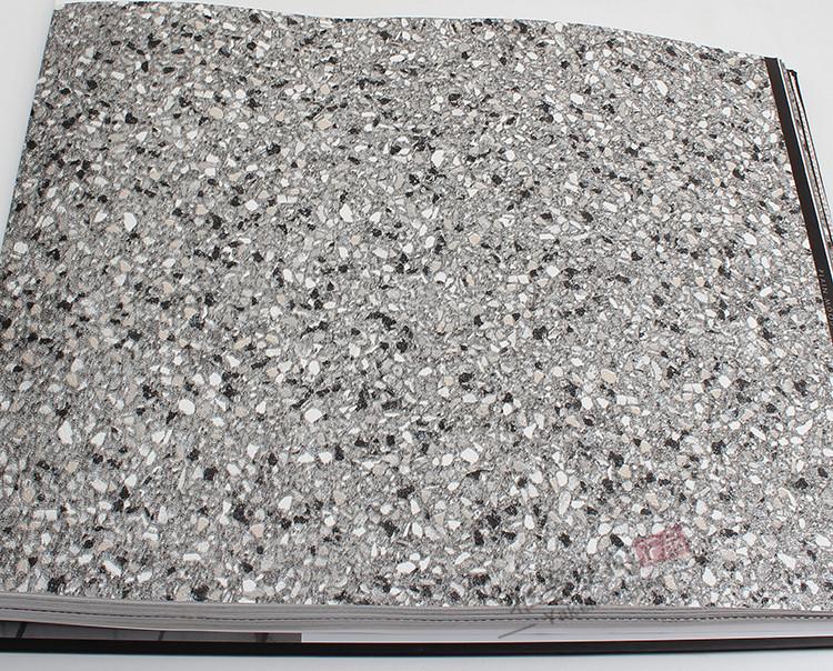 浅棕色仿砂岩砂砾工装服装店餐厅墙纸 工业风格仿水磨石灰色壁纸