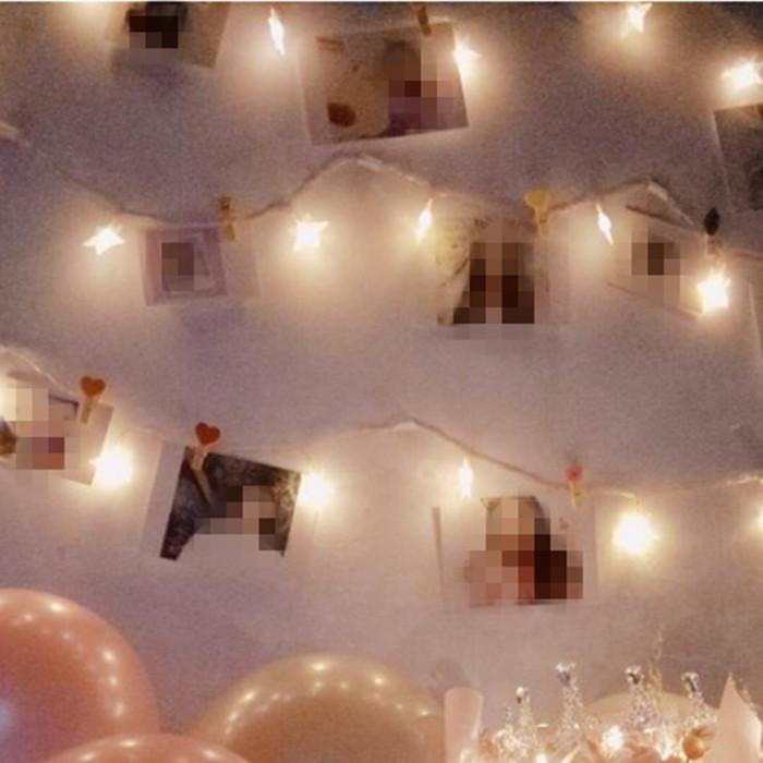 包邮 彩色小木夹子麻绳照片夹原木色木夹照片墙 婚礼相片夹照片夹