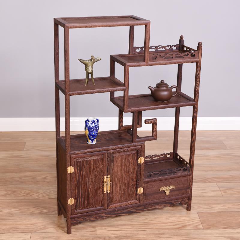 小博古架鸡翅木多宝阁茶架子置物架实木古董红木中式仿古茶壶茶具