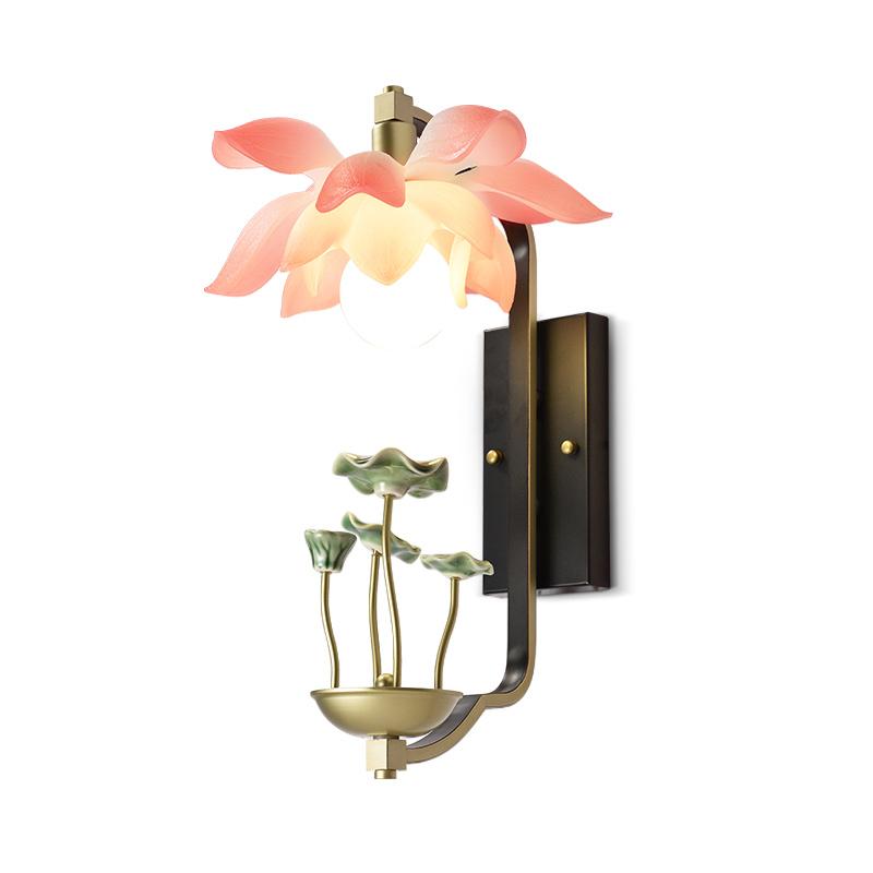 新中式壁灯创意玄关过道灯中国风客厅卧室仿古床头灯禅意荷花壁灯