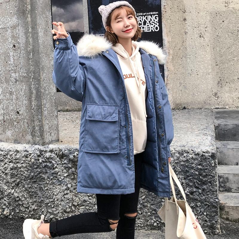 小个子棉服女2018新款ins棉衣中长款韩版宽松学生面包服冬天外套