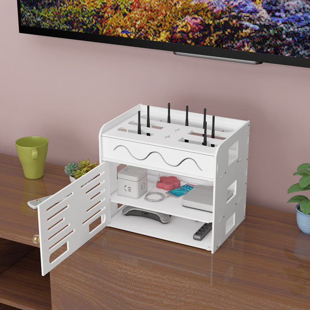 Router storage box wifi cat remote control storage rack plug-in wire patch panel finishing set-top box rack