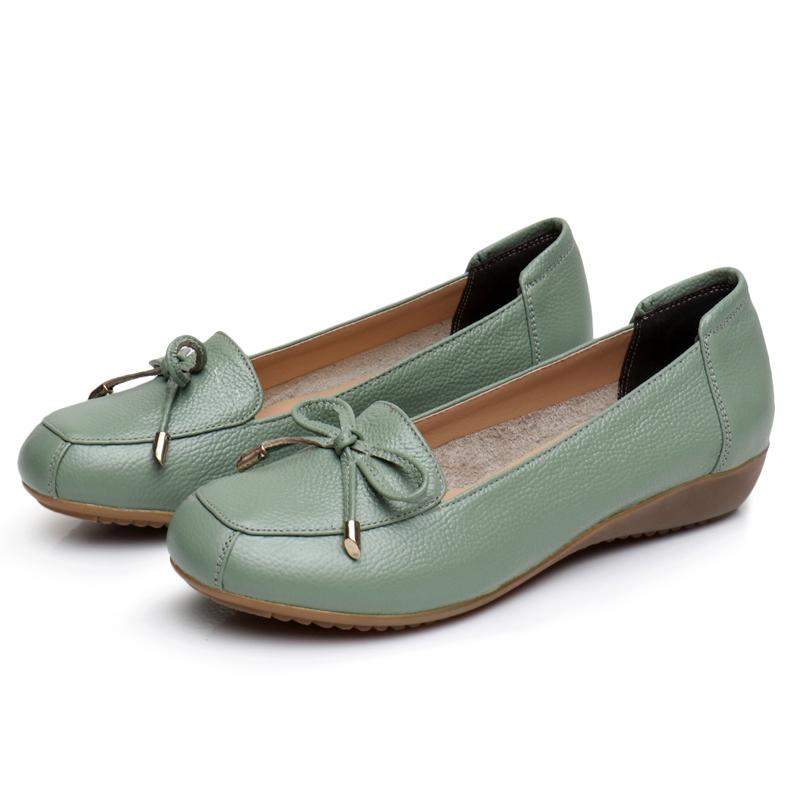 春秋季妈妈鞋真皮软底牛筋底单鞋女式软皮鞋中年女鞋豆豆鞋女舒适