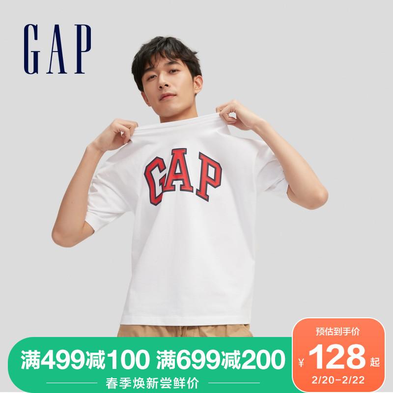 春季新款情侣装上衣 2021 688537 恤 T 纯棉圆领短袖 LOGO 男女装 Gap