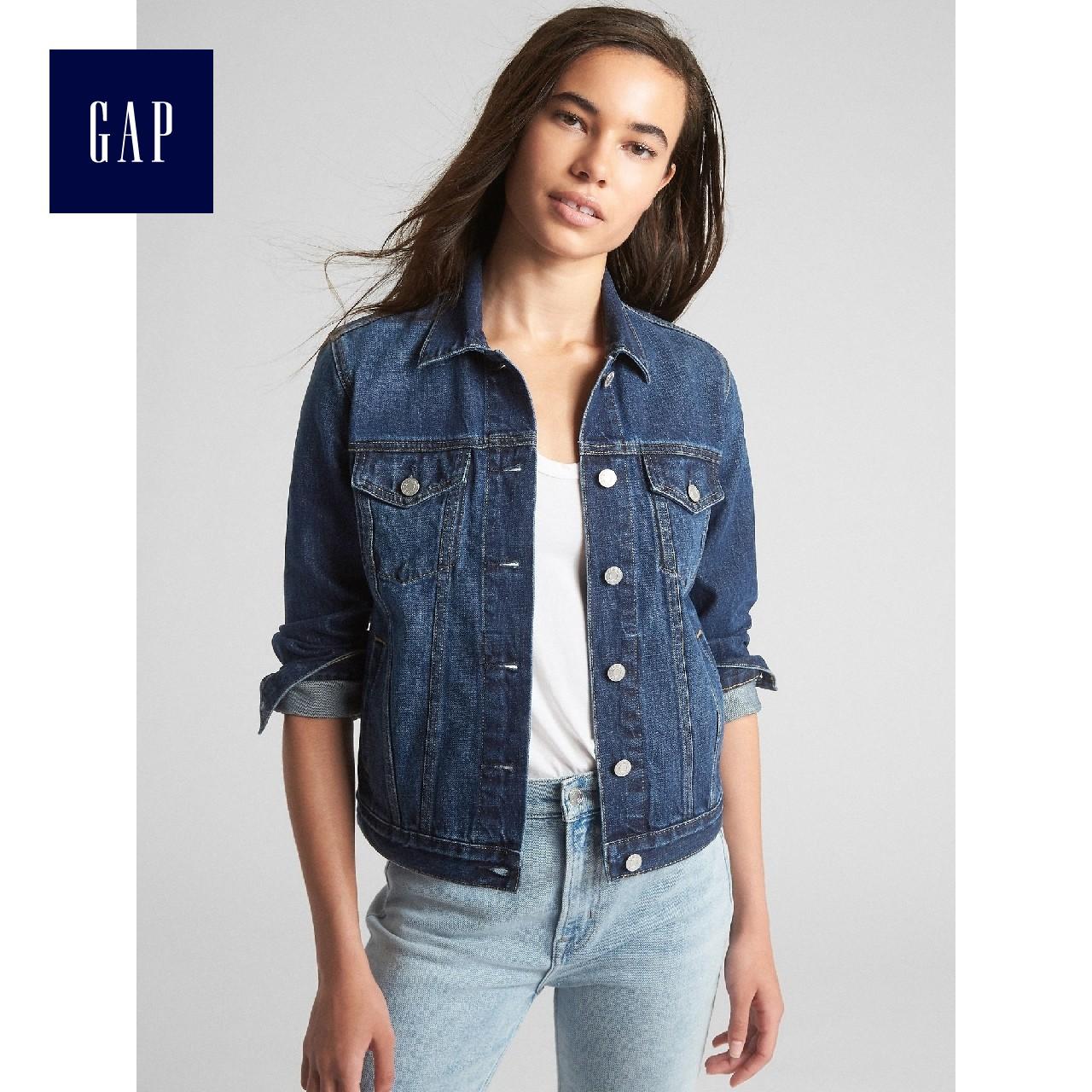 Gap女装纯棉短款牛仔外套春366189 长袖上衣开襟女士深色休闲夹克
