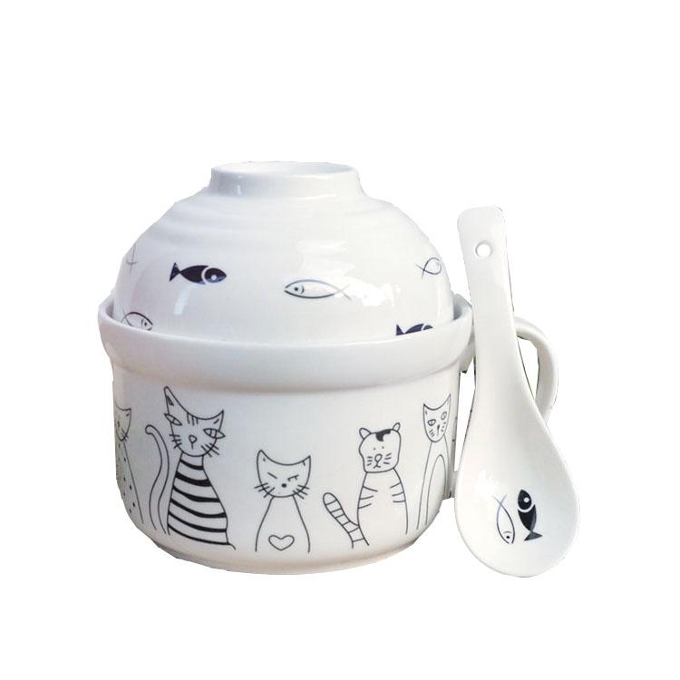 陶瓷卡通泡面碗创意学生碗餐具套装可爱宿舍泡面杯大号带盖勺筷叉【图5】