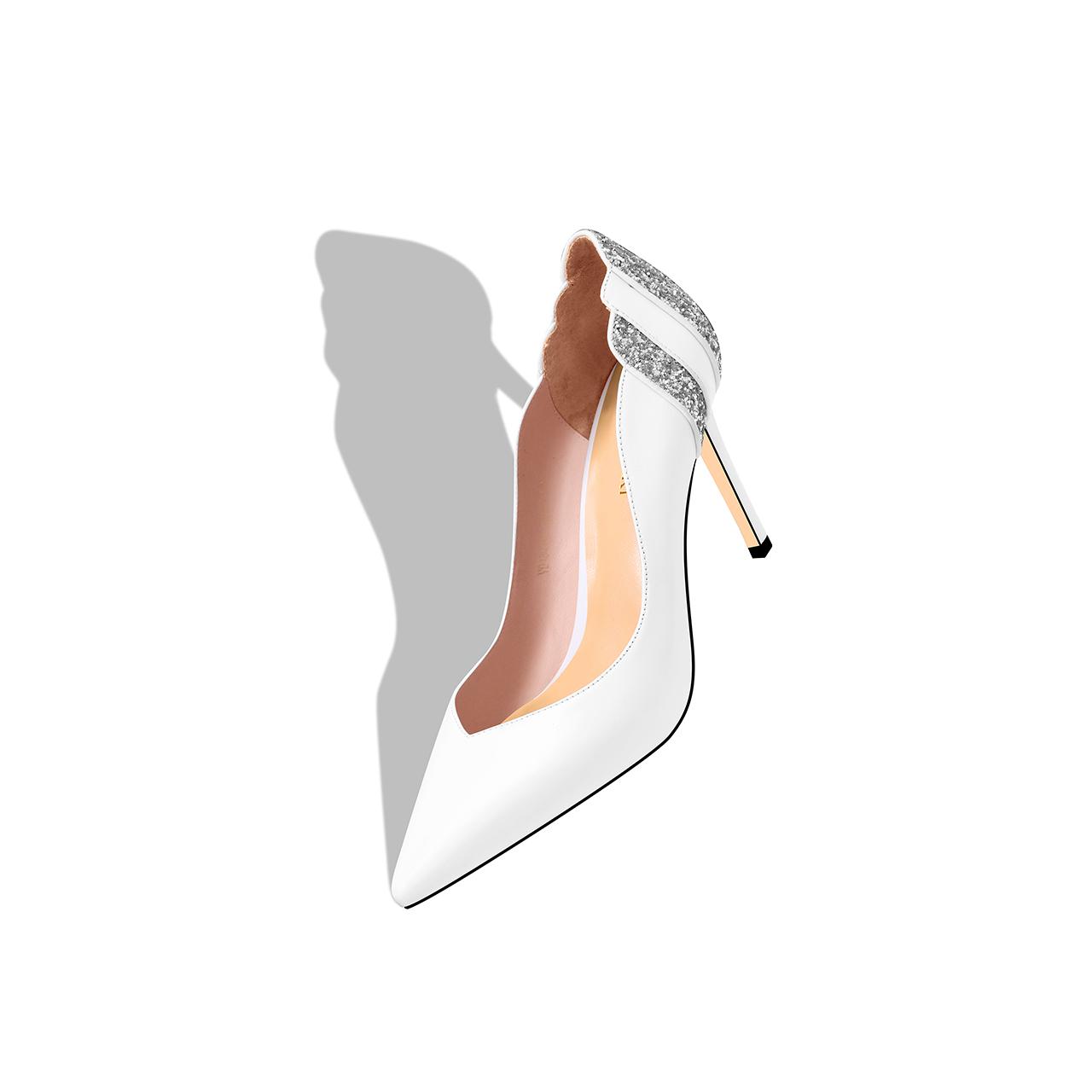 贝蒂佩琪2018秋季新款高跟鞋女细跟浅口尖头白色单鞋真皮百搭亮片