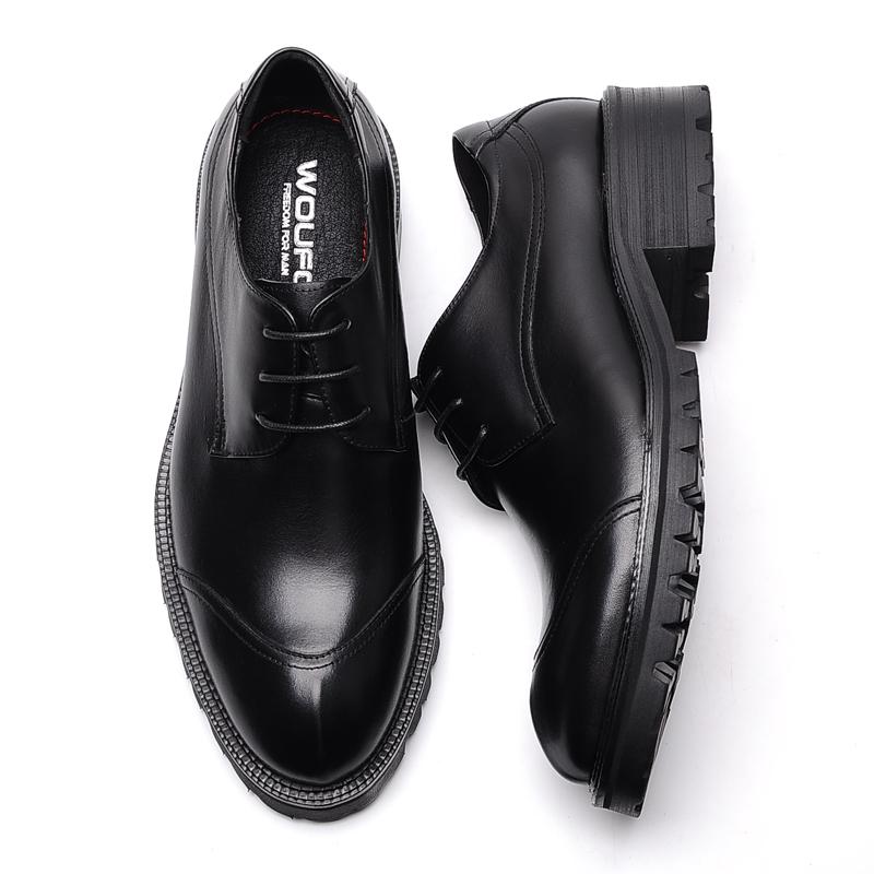 欧版商务正装皮鞋男真皮圆头 高档厚底高跟系带黑色皮鞋牛皮正品