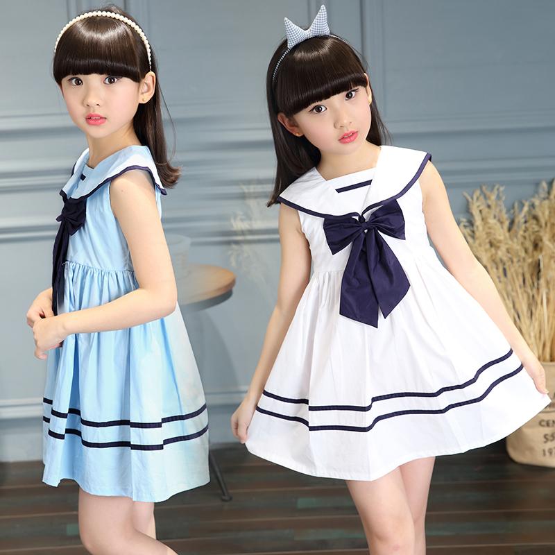 小学生连衣裙春夏装8女童9长袖10岁12女孩裙子11儿童公主裙13白15
