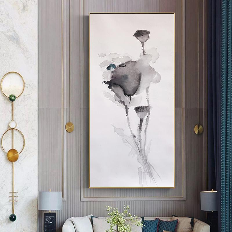 手绘新中式客厅油画抽象山水风景油画装饰画荷花水墨画玄关过道画
