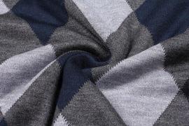 秋冬季男士商务休闲羊毛背心纯羊毛衫格子v领针织马甲毛衣男坎肩
