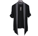 Trendy men's long-sleeved cardigan Korean casual clothes black cape outer personality thin sweater jacket