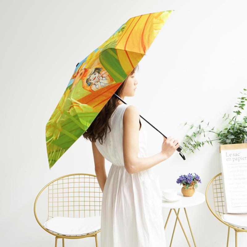 羚羊早安原创品牌纪念插画伞手绘防紫外线遮阳伞晴雨伞三折太阳伞【图4】
