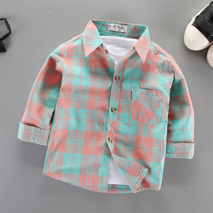 男童长袖衬衫纯棉薄款儿童春秋童装小童上衣婴儿外套宝宝格子衬衣