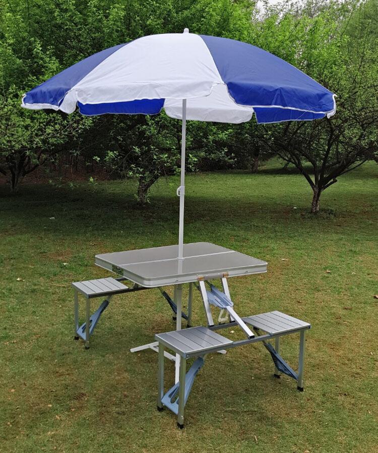户外折叠桌便携式铝合金连体桌椅套装野餐烧烤摆摊桌宣传展业桌子