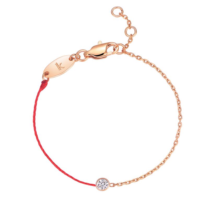 玫瑰金狗年本命年转运韩版 钛钢镀  单钻半链幸运小红绳手链女 18k