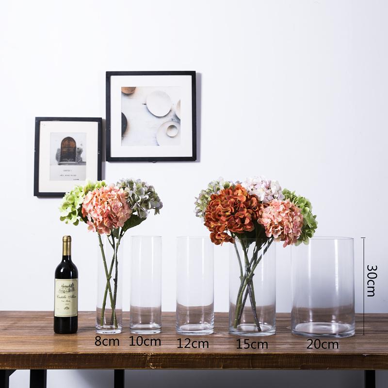Transparent Glass Rich Bamboo Vase Decoration Living Room Flower Arrangement Floor Cylindrical Straight Tube Modern Simple