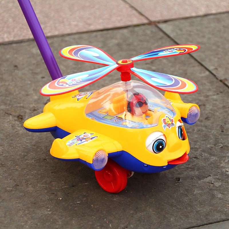 一岁宝宝手推小飞机学步车车儿童玩具推推乐单杆响铃婴儿学走路车