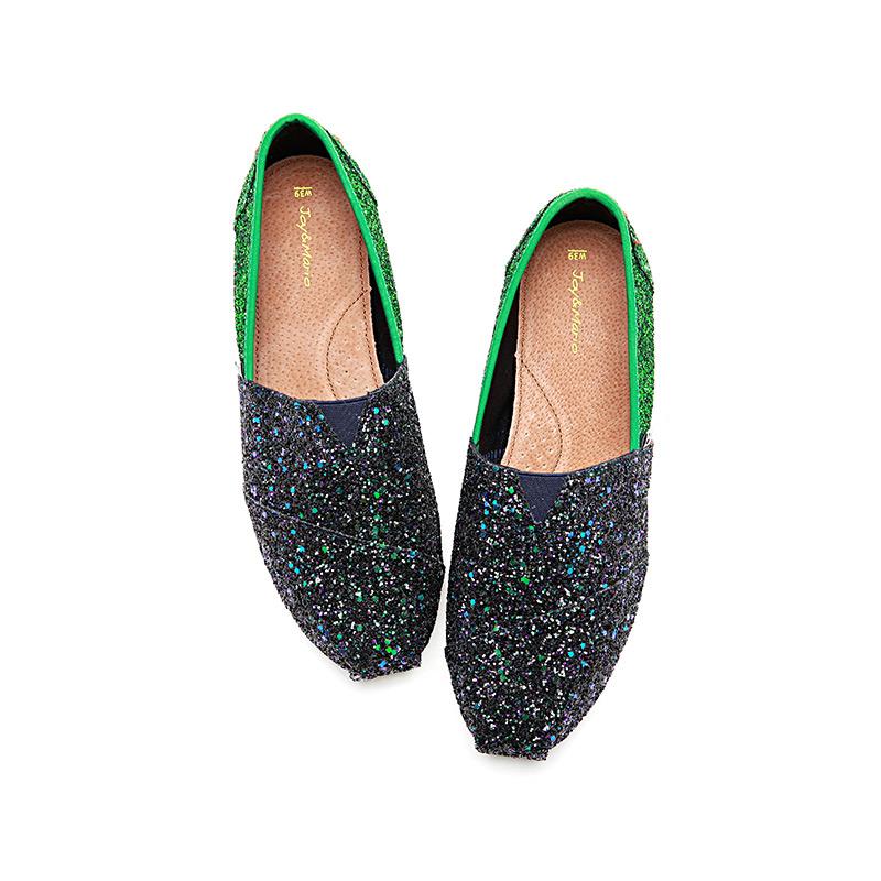 J&M快乐玛丽夏季新款潮时尚拼色休闲鞋一脚蹬亮片帆布鞋女鞋903W