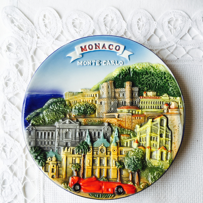 小号15cm纯手绘意大利西西里五渔村爱琴海希腊挂盘背景墙美式盘
