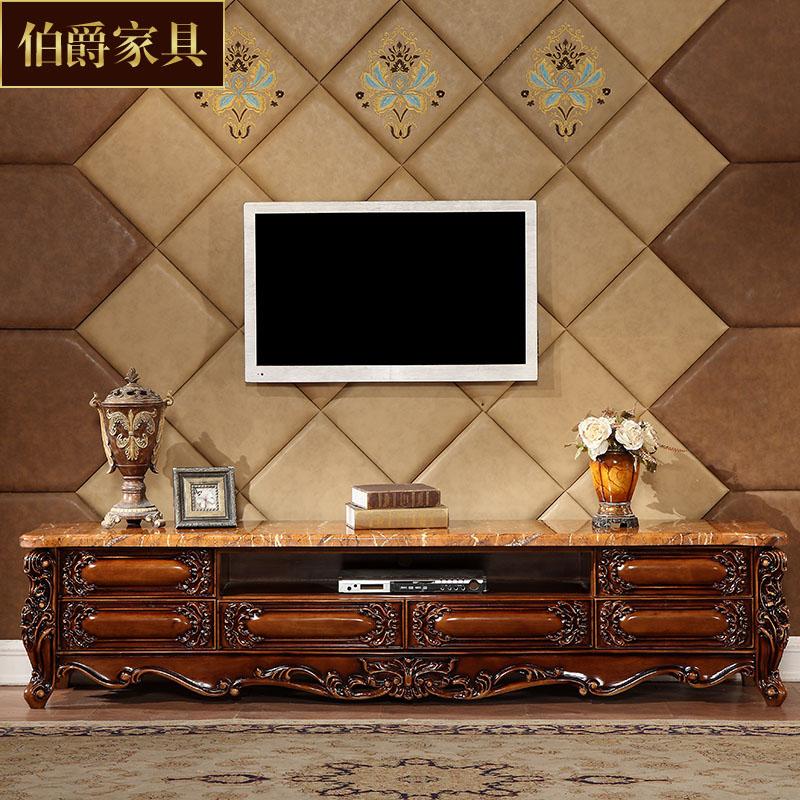 欧式大理石电视柜高档美式实木雕花地柜古典深色B005a