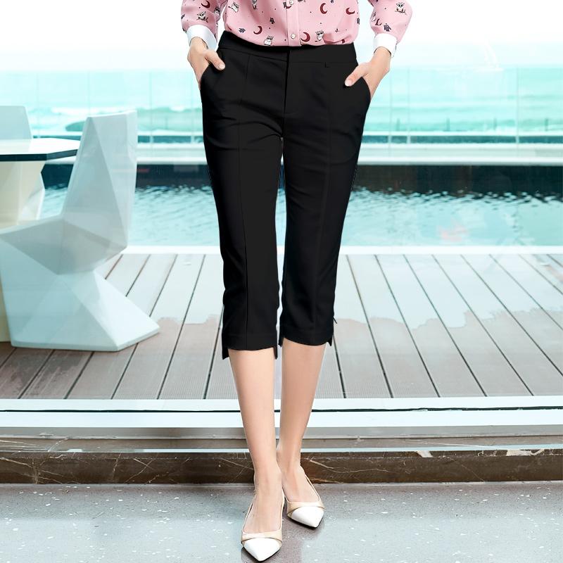 迪图白色铅笔裤 夏季新款修身显瘦裤子直筒不规则女裤七分裤女  2021