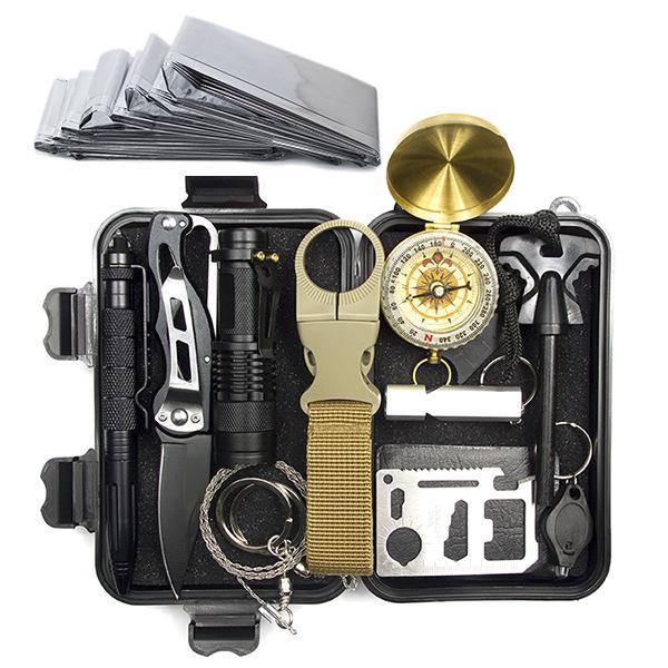 应急用品 SOS 户外装备求生宝盒生存工具套装多功能野外急救盒 X3