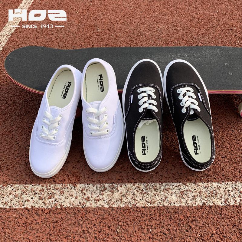 HOZ后街韓版經典ins帆布鞋女情侶原宿學生透氣低幫運動休閒小白鞋