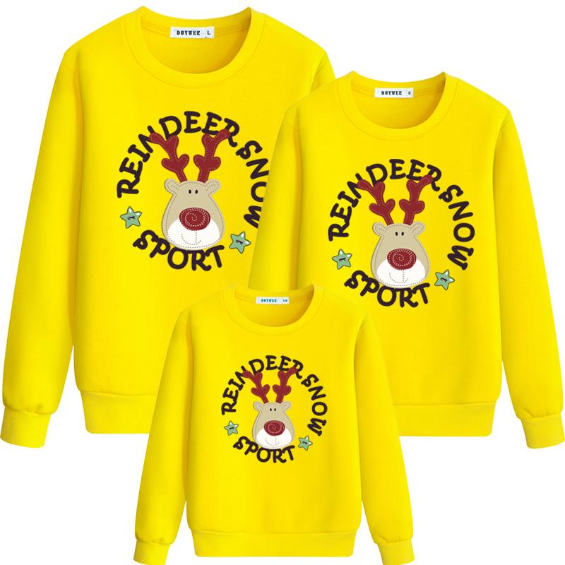 亲子装卫衣一家三口圣诞鹿家庭装幼儿园运动会团体班服活动服装