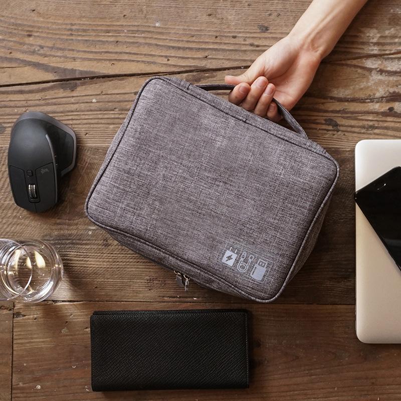 旅行多功能数据线收纳包 大容量数码电源线充电器手机配件收纳